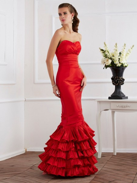 Trumpet/Mermaid Taffeta Sweetheart Floor-Length Ruffles Sleeveless Dresses