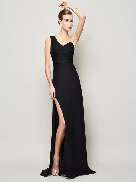 Sheath/Column Chiffon One-Shoulder Sweep/Brush Train Pleats Sleeveless Dresses