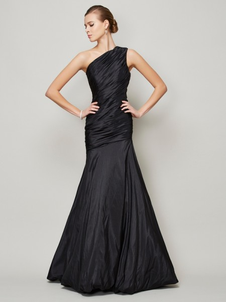 A-Line/Princess Taffeta One-Shoulder Floor-Length Pleats Sleeveless Dresses