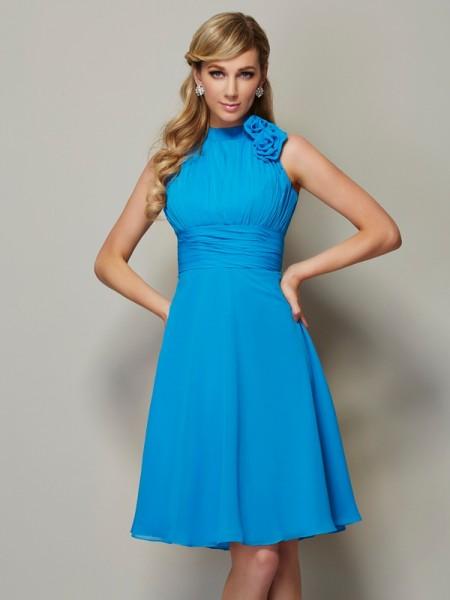 A-Line/Princess Chiffon High Neck Knee-Length Pleats Sleeveless Bridesmaid Dresses