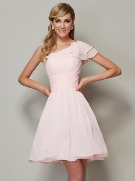 A-Line/Princess Chiffon Straps Short/Mini Pleats Sleeveless Bridesmaid Dresses