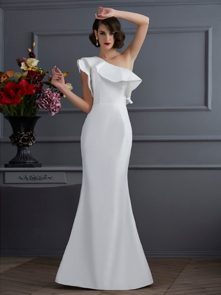 Trumpet/Mermaid Taffeta One-Shoulder Floor-Length Ruffles Sleeveless Dresses