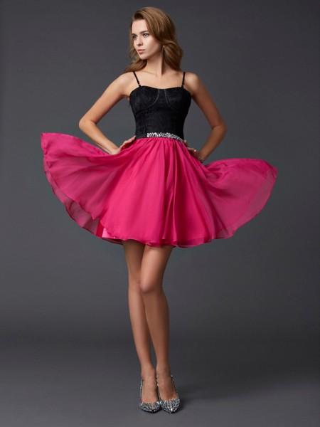 A-Line/Princess Chiffon Lace Spaghetti Straps Short/Mini Sleeveless Cocktail Dresses