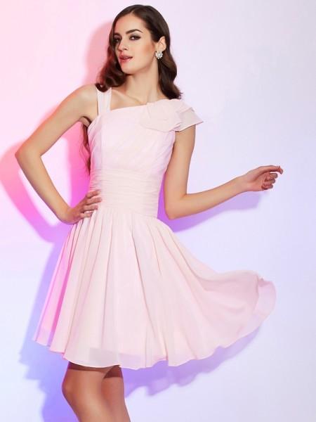 A-Line/Princess Chiffon Short/Mini Pleats Sleeveless Cocktail Dresses
