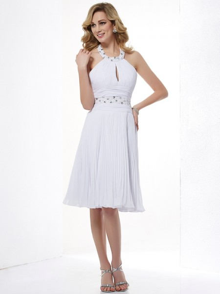 A-Line/Princess Chiffon Halter Knee-Length Beading Sleeveless Dresses