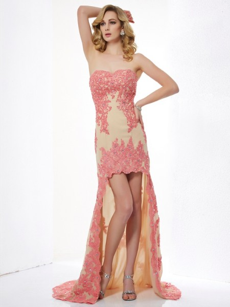 A-Line/Princess Lace Sweetheart Asymmetrical Applique Sleeveless Dresses