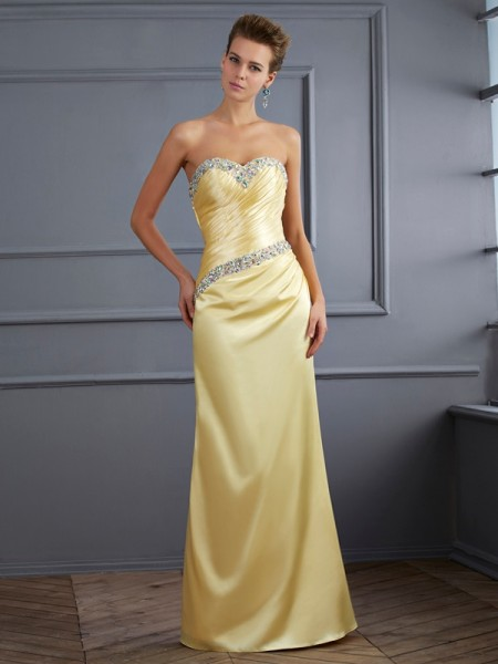 Trumpet/Mermaid Elastic Woven Satin Sweetheart Floor-Length Beading Sleeveless Dresses