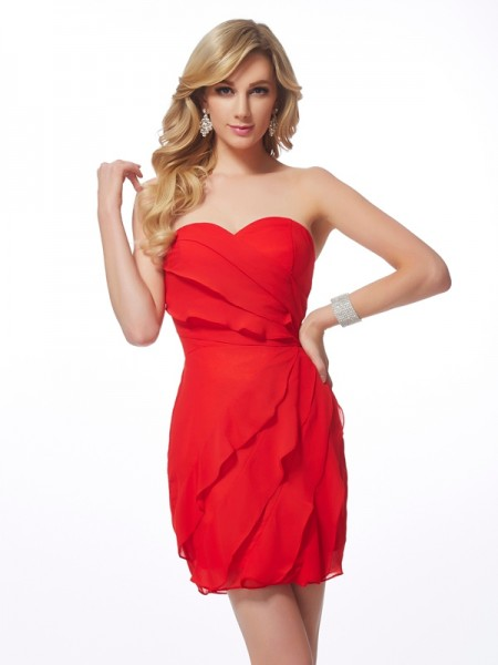 Sheath/Column Chiffon Sweetheart Short/Mini Ruffles Sleeveless Cocktail Dresses
