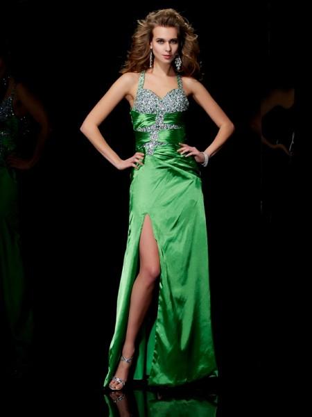 Sheath/Column Elastic Woven Satin Straps Sweep/Brush Train Beading Sleeveless Dresses