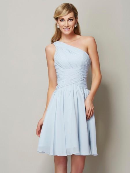 A-Line/Princess Chiffon One-Shoulder Short/Mini Ruched Sleeveless Bridesmaid Dresses