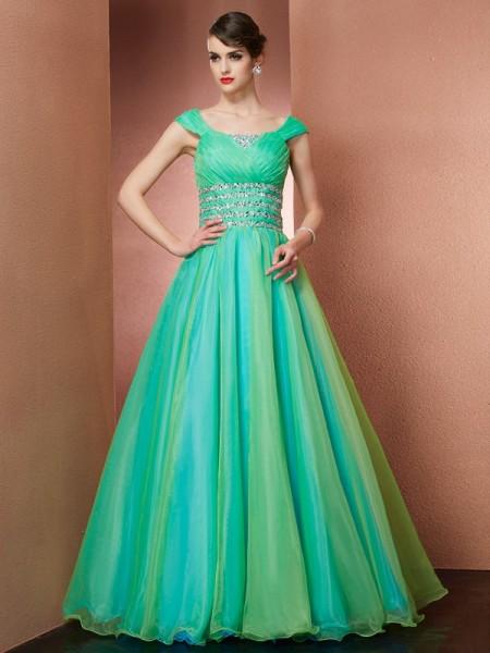 Ball Gown Satin Off-the-Shoulder Floor-Length Beading Sleeveless Dresses