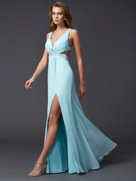 Sheath/Column Chiffon V-neck Floor-Length Beading Sleeveless Dresses