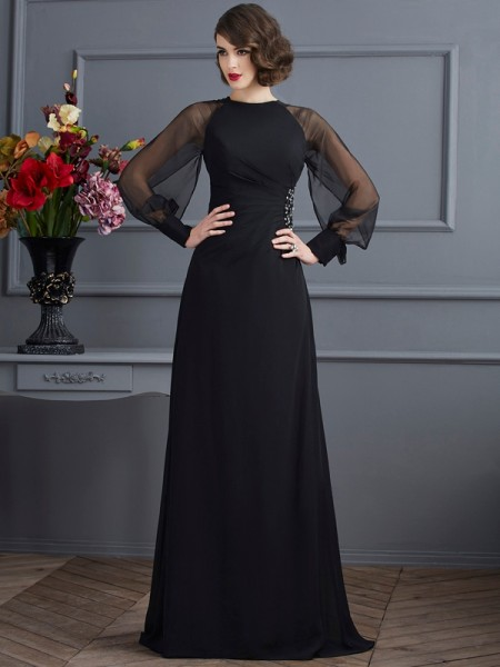 Sheath/Column Chiffon Scoop Sweep/Brush Train Beading Long Sleeves Dresses