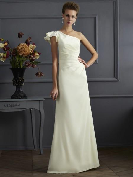 Sheath/Column Elastic Woven Satin One-Shoulder Floor-Length Pleats Sleeveless Bridesmaid Dresses