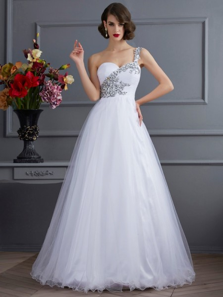 Ball Gown Elastic Woven Satin One-Shoulder Floor-Length Beading Applique Sleeveless Dresses