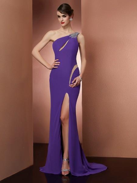 A-Line/Princess Chiffon One-Shoulder Sweep/Brush Train Beading Sleeveless Dresses