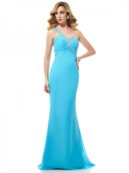 Trumpet/Mermaid Chiffon One-Shoulder Sweep/Brush Train Beading Sleeveless Dresses