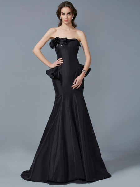 Trumpet/Mermaid Taffeta Strapless Sweep/Brush Train Ruffles Sleeveless Dresses