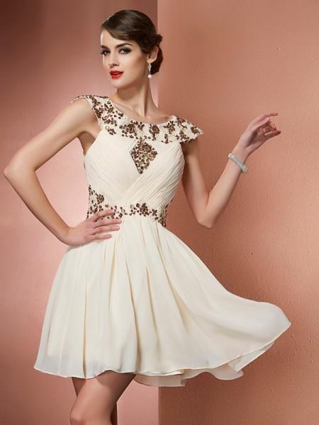 A-Line/Princess Chiffon Scoop Short/Mini Beading Applique Sleeveless Dresses