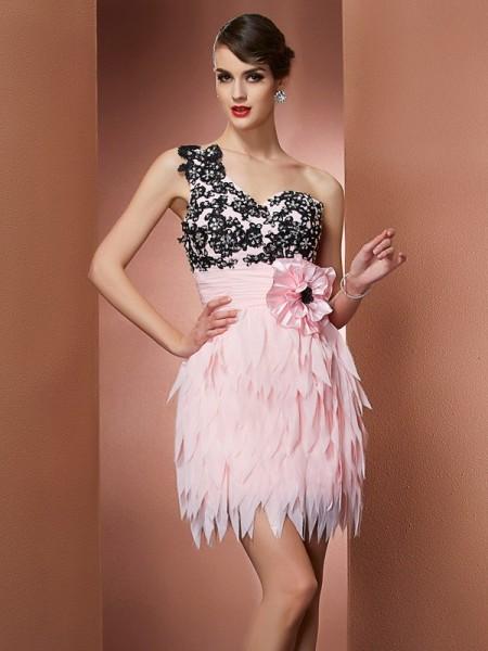 A-Line/Princess Chiffon One-Shoulder Short/Mini Hand-Made Flower Sleeveless Cocktail Dresses