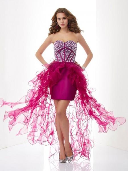 Sheath/Column Elastic Woven Satin Tulle Sweetheart Short/Mini Beading Sleeveless Cocktail Dresses