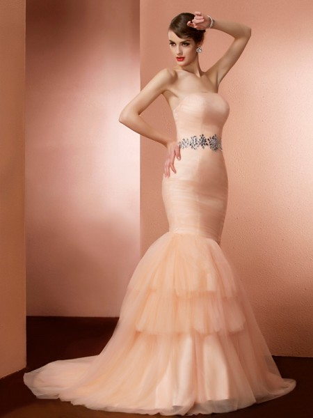 Trumpet/Mermaid Net Strapless Sweep/Brush Train Beading Sleeveless Dresses