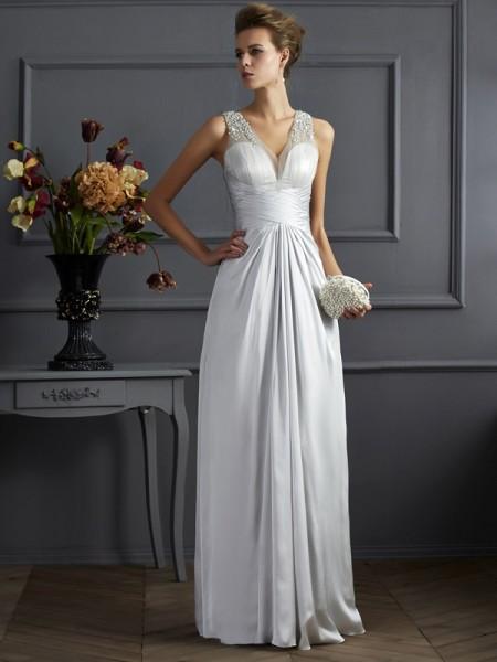 A-Line/Princess Silk like Satin Straps Floor-Length Beading Sleeveless Dresses