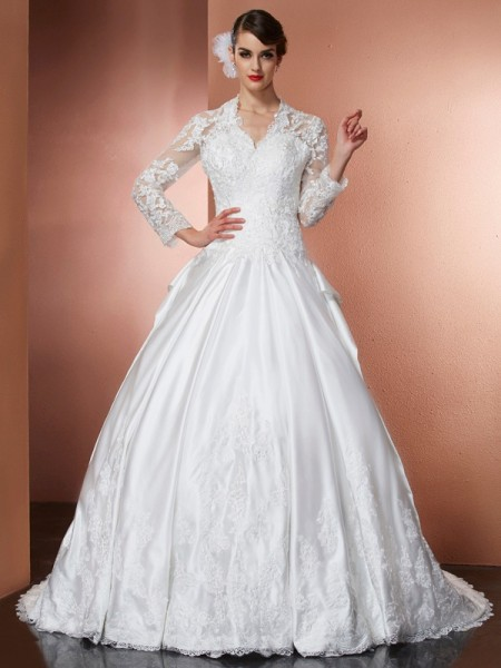 A-Line/Princess Satin V-neck Cathedral Train Applique Long Sleeves Wedding Dresses
