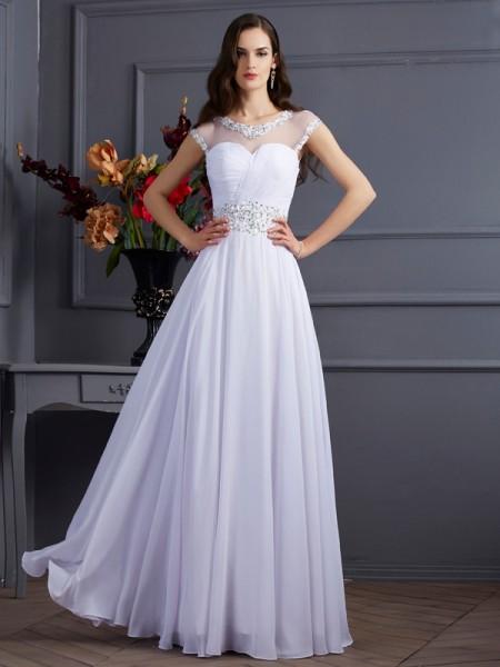 A-Line/Princess Chiffon Bateau Floor-Length Beading Short Sleeves Dresses
