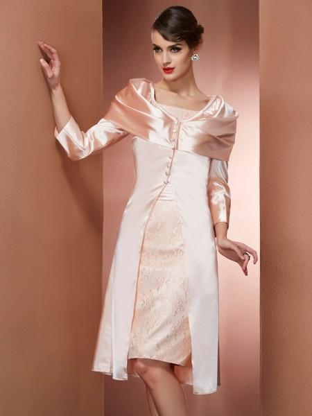 Sheath/Column Elastic Woven Satin Square Knee-Length Sleeveless Formal Dresses