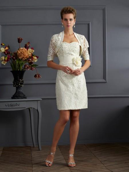 Sheath/Column Taffeta Sweetheart Knee-Length Beading Applique Sleeveless Formal Dresses