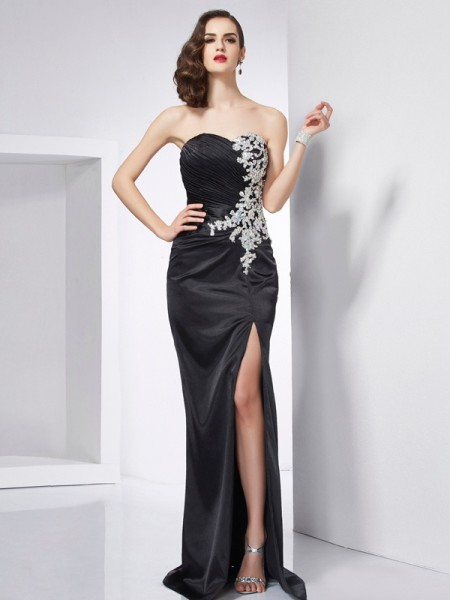 Trumpet/Mermaid Sweetheart Sleeveless Sweep/Brush Train Black Dresses