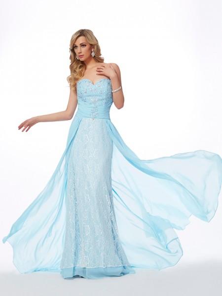 A-Line/Princess Sweetheart Sleeveless Sweep/Brush Train Light Sky Blue Dresses