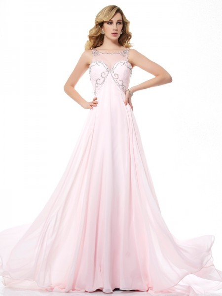 A-Line/Princess Scoop Sleeveless Sweep/Brush Train Pearl Pink Dresses