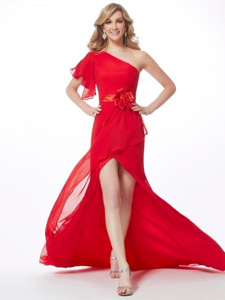 Trumpet/Mermaid One-Shoulder Sleeveless Sweep/Brush Train Red Dresses