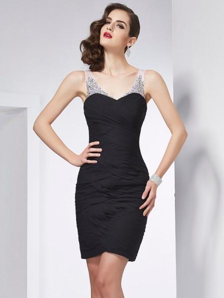 Sheath/Column Straps Sleeveless Short/Mini Black Dresses