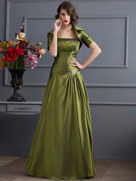 A-Line/Princess Strapless Sleeveless Floor-Length Green Dresses