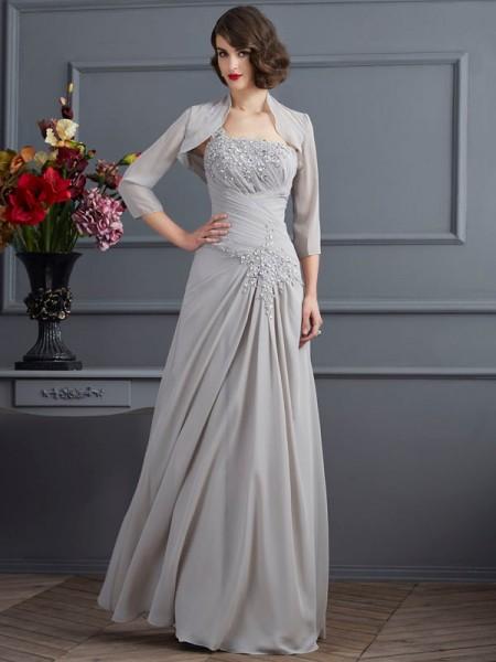 A-Line/Princess One-Shoulder Sleeveless Floor-Length Silver Mother of the Bride Dresses