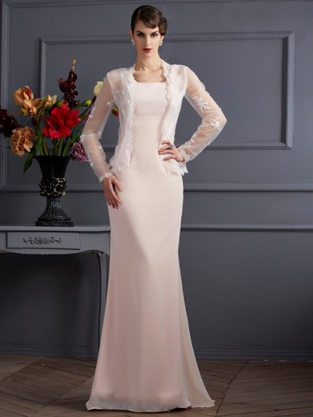 Sheath/Column Square Sleeveless Floor-Length Pearl Pink Mother of the Bride Dresses