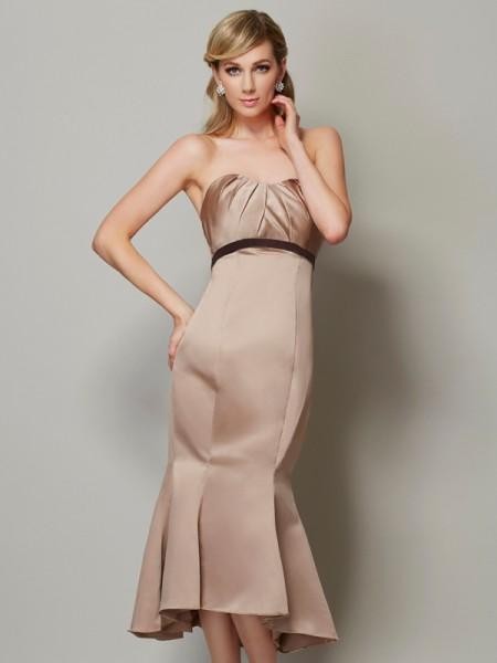 Sheath/Column Strapless Sleeveless Tea-Length Champagne Dresses