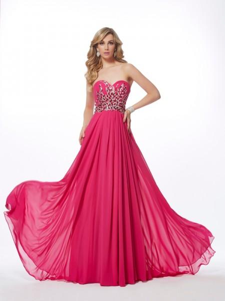 A-Line/Princess Sweetheart Sleeveless Sweep/Brush Train Watermelon Dresses