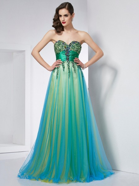 Ball Gown Sweetheart Sleeveless Sweep/Brush Train Green Dresses