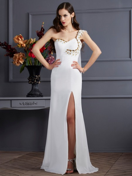 A-Line/Princess One-Shoulder Sleeveless Sweep/Brush Train Ivory Dresses