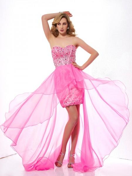 A-Line/Princess Sweetheart Sleeveless Asymmetrical Fuchsia Dresses
