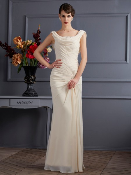 Sheath/Column Scoop Sleeveless Floor-Length Champagne Dresses