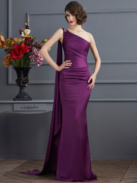 Sheath/Column One-Shoulder Sleeveless Sweep/Brush Train Regency Dresses