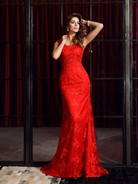 Trumpet/Mermaid Sleeveless Applique Sweep/Brush Train V-neck Lace Dresses
