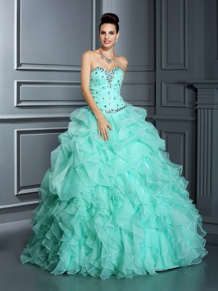 Ball Gown Sleeveless Beading Floor-Length Sweetheart Organza Dresses