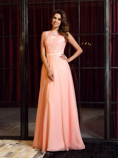 A-Line/Princess Sleeveless Applique Sweep/Brush Train High Neck Chiffon Dresses