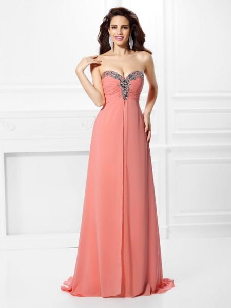 A-Line/Princess Sleeveless Beading Sweep/Brush Train Sweetheart Chiffon Dresses